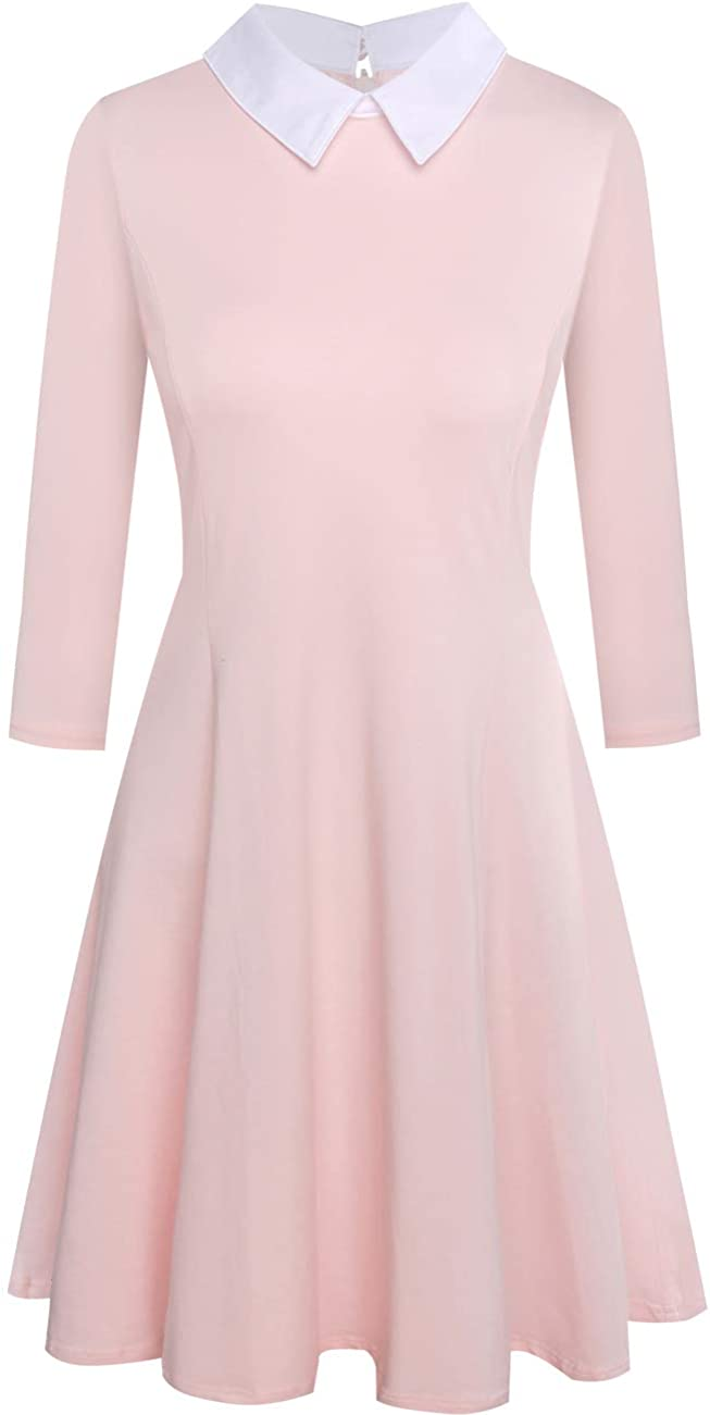 Melynnco Womens 3/4 Sleeve Casual Dress with Peter Pan Collar for Halloween Party