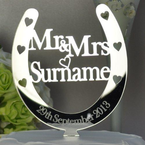 Personalised Mr and Mrs Horseshoe Cake Toppers Wedding/Anniversary Keepsake Mirror Acrylic