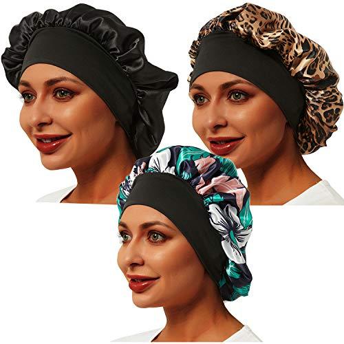 3 Pcs Satin Bonnet, Soft Bonnets for Black Women Hair Bonnet Hair Cover, Sliky Bonnet Luxurious Fabric Premium Elastic Wide Band for Women Haircare Hair Loss(Normal Size, 3 Pcs-Black+Leopard+Flower E)