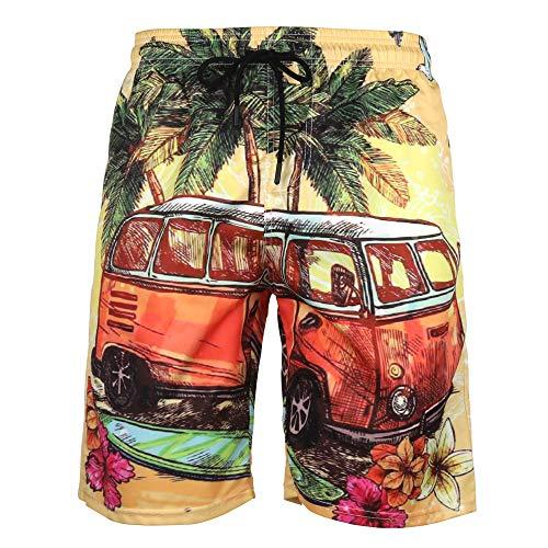 DOTBUY Badeshorts für Herren Lang, Sommer Persönlichkeit Creative 3D Druck Gemütlich Schnelltrocknend Badehose Jungen Männer mit Taschen Kurze Hosen fit Hawaii Strand Surf (4XL,Bus)