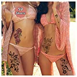 Cerlaza 162 Styles Temporary Tattoos for Women Adults Girls, Fake Sleeve Henna Tattoo Stickers, Leg Makeup Waterproof Realistic Long Lasting Semi Permanent Tattoos Kit-50 sheets