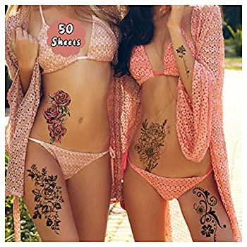 Cerlaza 162 Styles Temporary Tattoos for Women Adults Girls Fake Sleeve Henna Tattoo Stickers Leg Makeup Waterproof Realistic Long Lasting Semi Permanent Tattoos Kit-50 sheets