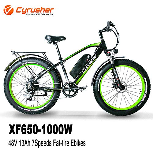 Cyrusher XF650 1000W Electric Mountain Bike 264 inch Fat Tire e-Bike 7 Speeds Beach Cruiser Mens Sports Mountain Bike for Adults,48V 13AH Lithium Battery (Green)