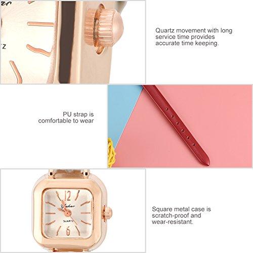 Relojes de cuarzo para mujer, de moda, AutomotiveFemale reloj de pulsera analógico PU correa reloj de pulsera [#02]