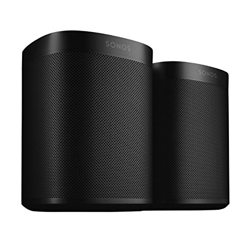 Two Room Set with all-new Sonos One - Smart Speaker with Alexa voice control built-In. Compact size with incredible sound for any room. (Black)