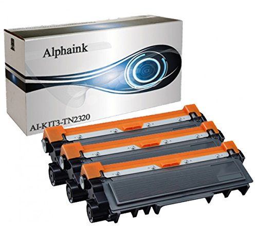 3 Toner Alphaink Compatibile con Brother TN-2320 versione da 2600 copie per stampanti Brother DCP-L2500 2520 2540 2560 2700 HL-L2300 2320 2321 2340DW 2360DW 2700DW MFC-L2701 2703 2720DW 2740DW