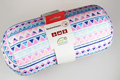 Kamaca Nackenrolle Nackenstütze Reisekissen mit hautsympathischem Bezug universell einsetzbar stützend und praktisch für Reise (Crazy Pink Nackenrolle)