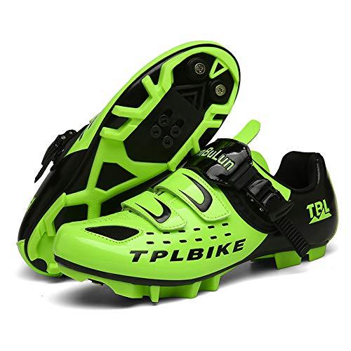 JINFAN Zapatillas de Ciclismo MTB para Hombre,Zapatos de Ciclismo de Montaña con Candados,Calzado Deportivo de Invierno para Hombre y Mujer/Suelas-Nailon,Green-5UK=(240mm)=38EU