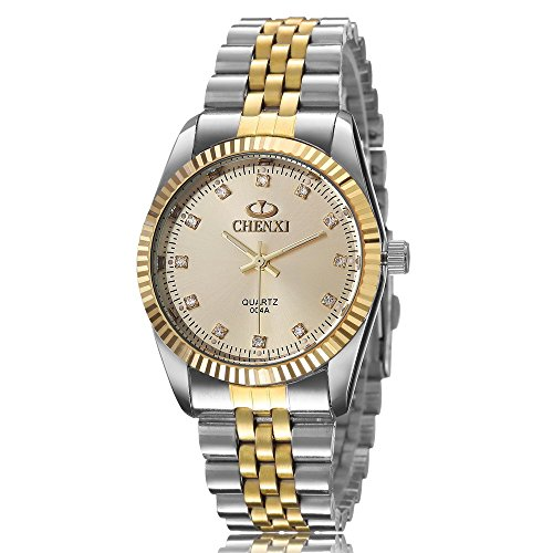 XLORDX Herren Armbanduhr Analog Quarz Strass Silber Gold Uhr mit Edelstahl Armband Gold Zifferblatt
