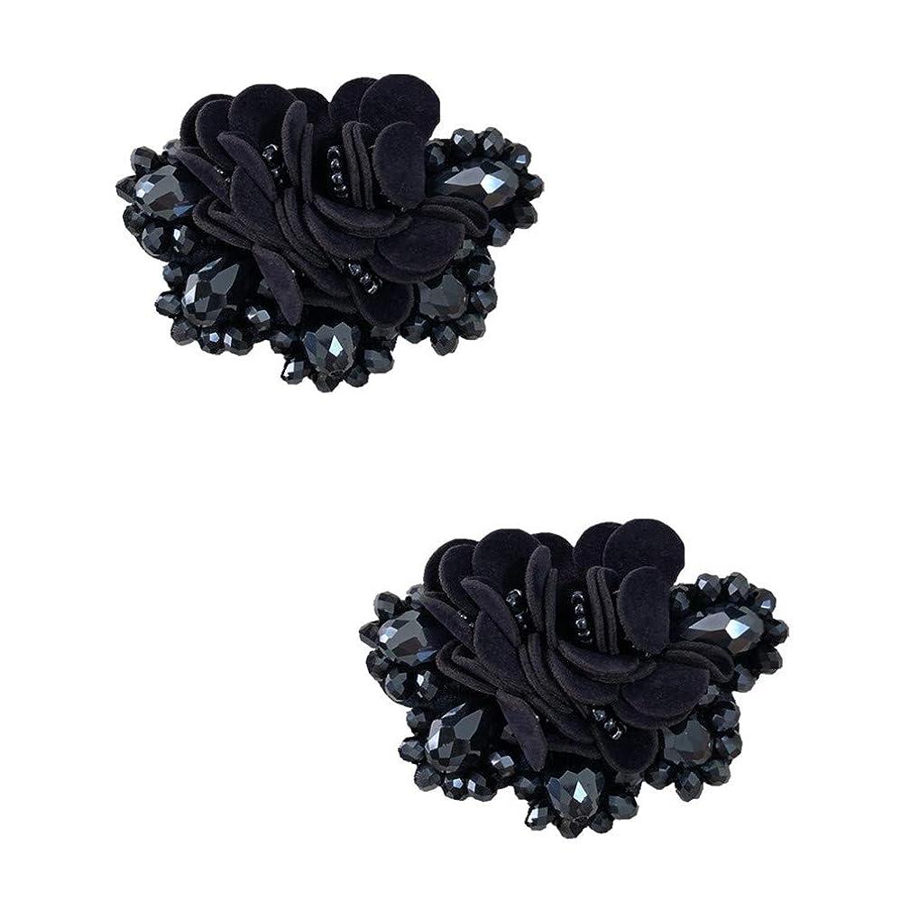 Douqu 2 Pcs 2.8inch Women Bow Flower Crystal Flip Flop Shoe Charms Beaded Fashion Shoe Clips (Navy)