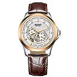 JIUSKO automático–para Hombre Esqueleto Reloj de Oro Rosa de Piel Color marrón–24Horas–Sapphire