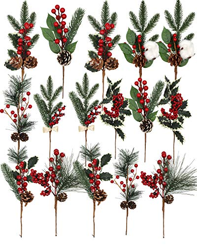 vensovo 16 Pack Artificial Christmas Berry Picks - Faux Pinecones Picks Stems Decoration, Spray Red Berries twig, Winter Holiday Greenery Decor for Fireplace Table Wedding Front Door Decoration
