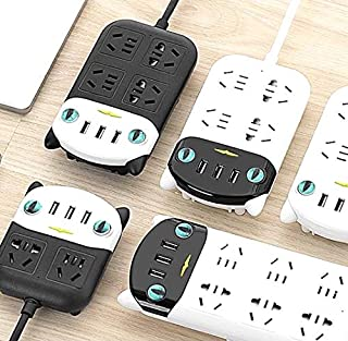 International Power Board Strip 4 Way Socket 3 USB Charging Ports w/Surge Protector 1.8m (4 Outlet 3 USB Black)