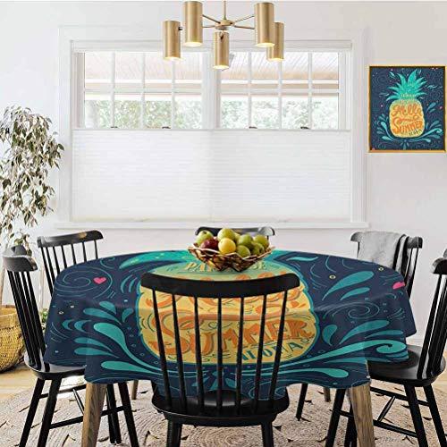 Mantel redondo, dibujado a mano Aquarelle de coco con marcas de pincel de frutas de hawaii, hojas helecho verde marrón negro, mantel antiarrugas, poliéster, Multi03, Diameter 50'