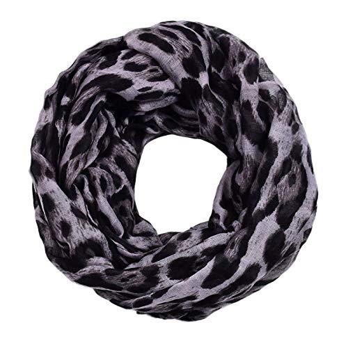 wsxcfyjh Bufanda Bufanda De Leopardo Popular Estampado De Mujer Bufanda Clásica Simple Funda para El Cuello Gris