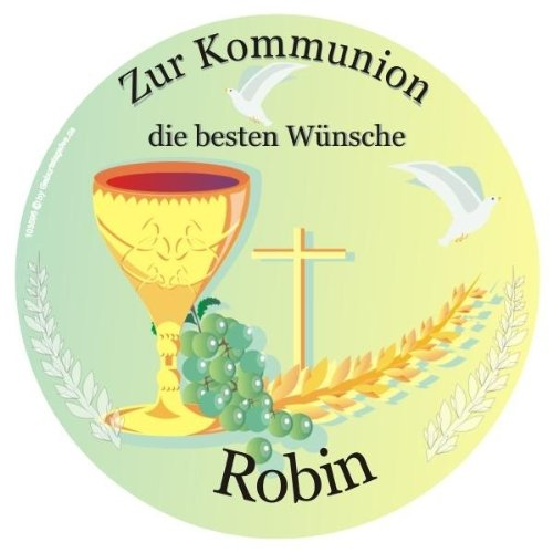 pers. Tortenauflage Kommunion +Name, rund, Tortendeko für Kommunionstorte