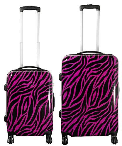 Koffer Reisekoffer Kofferset 2 teilig M und L Zebra Gestreift Pink Schwarz Felloptik