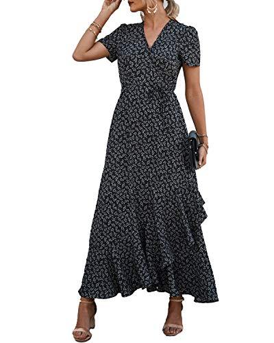 PRETTYGARDEN Women's Wrap Maxi Dress Boho Floral V Neck Short Sleeve Ruffle Hem Split Beach Long Dresses (Black, X-Large)