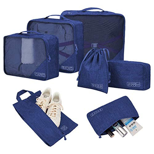 LIVACASA 7PCS Travel Organisers Bags Set for Luggage Storage Bags Packing Clothes Suitcase Organiser Bags Water Repellency Luggage Cubes Set Blue