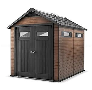 Keter - Caseta de jardín exterior Fusion 7, 5x9, Color marrón