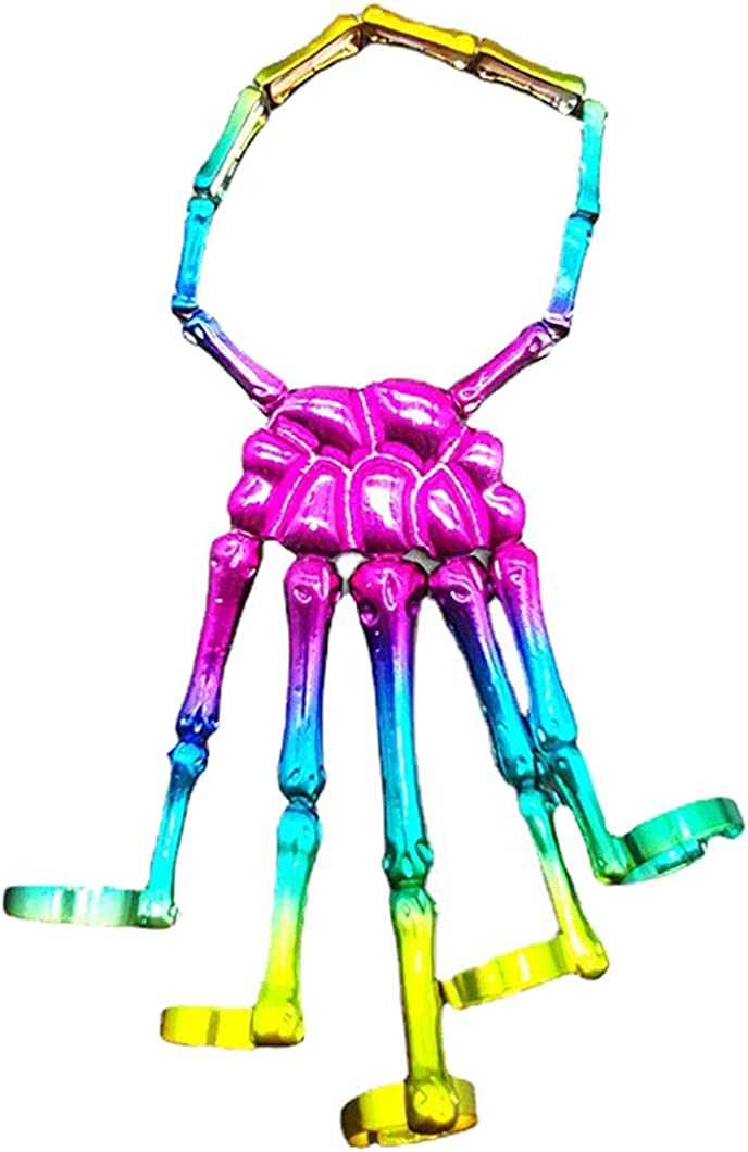 Halloween Skull Cheap mail Manufacturer OFFicial shop order shopping Skeleton Hand Bracelet Multicolor with Ring Pun