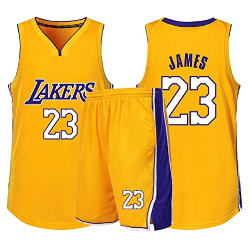 Ventiladores Lebron James Niños Niñas Baloncesto Jersey fija, Los Angeles Lakers No.23 alero joven jerseys chaleco del verano camisa + cortocircuitos de dos piezas ( Color : Yellow(B) , Size : XXS )