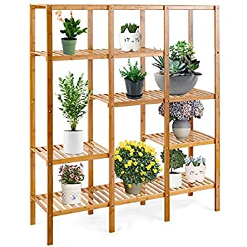 COSTWAY Bamboo Shelf Bathroom Multifunctional Bamboo Plant Stand Storage Organizer Rack Plant Display Stand with Several Cell Closet Storage Cabinet