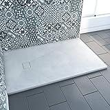 Aurlane Receveur a Poser en materiaux Composite SMC - Finition Ardoise Blanc Mat - 90x140cm -Rock 2 White 90