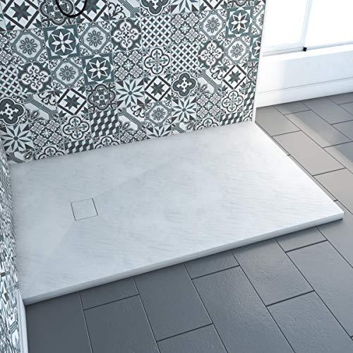 Receveur a poser en materiaux composite SMC - Finition ardoise blanc mat - 90x140 cm