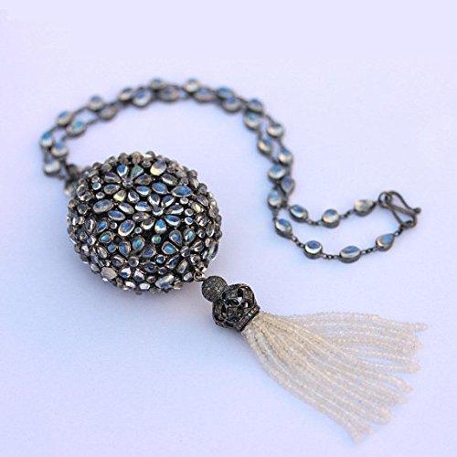 Ranking TOP18 Rainbow Moonstone Beads TASSEL PENDANT Sterling Sil NECKLACE 925 Denver Mall