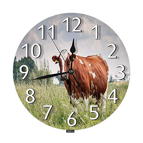 SSOIU Cow Wall Clock,Holstein Friesians Bos Taurus Brown Farm Animal Pasture Cattle Livestock Silent Non-Ticking Round Wall Clock Battery Operated for Home Office Decorative Clock Art