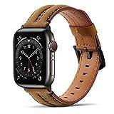 Tasikar Correas Compatible con Correa Apple Watch 44mm 42mm, Banda de reemplazo de Cuero Genuino Compatible con iWatch SE Series 6 5 4 3 2 1 - (42mm/44mm, Marrón)