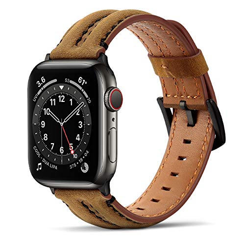 Tasikar Correas Compatible con Correa Apple Watch 44mm 42mm, Banda de reemplazo de Cuero Genuino Compatible con iWatch SE Series 6 5 4 3 2 1 - (42mm/44mm, Marrón) 🔥