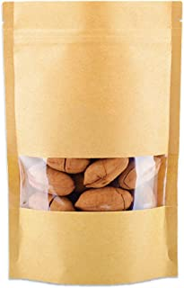 R-Noble 50 Pcs 4.7x7.8 Inches Stand Up Kraft Paper Bag, Reusable Zip Lock Sealing With Notch Matte Transparent Window Bags, All Purpose Storing Food Storage, Ideal for Coffee Beans, Nuts, Biscuits DIY