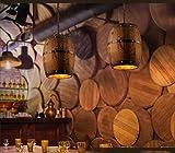 1* Pendelleuchte Vintage Hängeleuchte Retro Edison Loft Kronleuchter E27 Höhenverstellbar Industrielle Deckenleuchte Hölzerne Tonne Art Pendellampe für Esszimmer Keller Cafe Bar (Ohne Birne) - 7