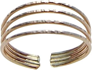 California Toe Rings Women's 14K Gold Filled 1Mm Bands Adjustable Toe Ring One Size Fits All Most