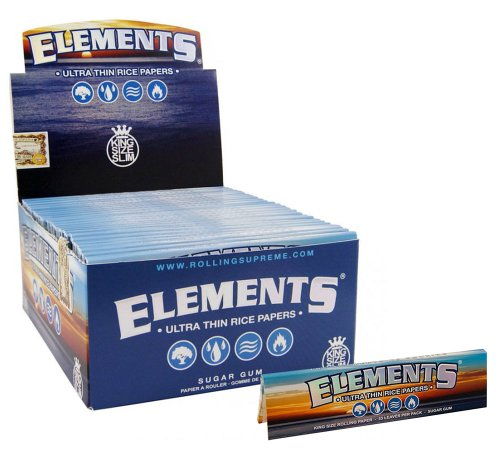 Elements King Size Ultra Thim Slim Rice Rolling Papers - 5 Booklets by Elements