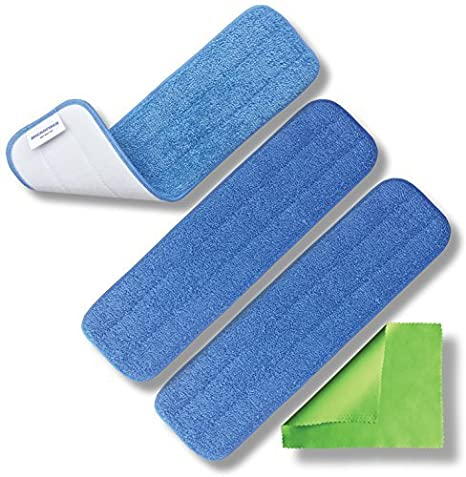 Amazon Com Microfiber Heavy Duty Mop Pad Replacement Heads For Wet Or Dry Floor Cleaning And Scrubbing Commercial Grade Fabric Weight Of 13 2 Oz Sq Yd 3 Pack With Bonus Cloth Home