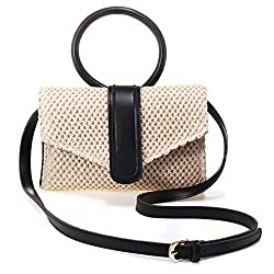 ※ Material: Made of high quality straw; Simple design, elegant style; Durable and fashionable. ※ Dimensions: 28 cm x 15 cm (L) (11.02 inches x 5.9 inches) Handle height: 67 cm; Adjustable shoulder strap: 140 cm; It can carry your daily items, such as...