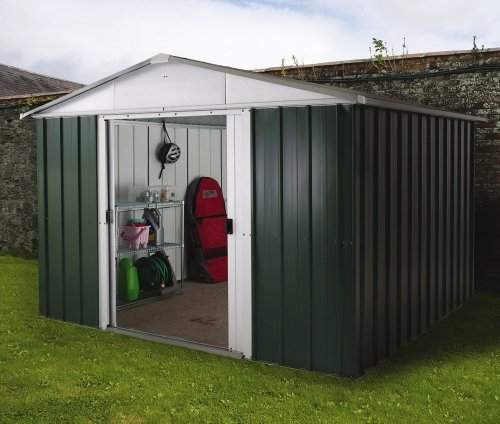 Yardmaster 10 x 13 ft Deluxe Apex Roofed Metal Shed with Floor Frame - Green