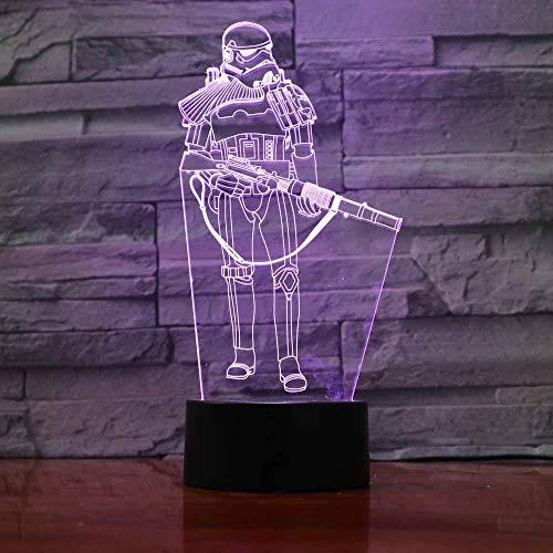 3D Veilleuse 7 Changement De Couleur 3D Visual Star Wars Guerrier Led Veilleuse Pour Enfants Toucher Mode Table Lampe Bébé Chevet Sommeil Décor