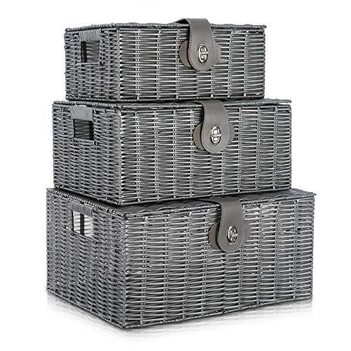 Juego de 3 cestas de mimbre con tapa y asa lateral de almacenamiento, ideal para cocina, sala de estar, baño y dormitorio (gris)
