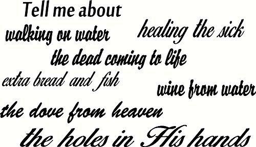 Art muursticker vertellen me over lopen op water genezen de zieke de doden komen tot leven extra brood en vis wijn uit water de duif uit de hemel de gaten in zijn handen