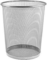 Sinoba Prullenbak, afvalemmer, papieremmer, draadhoogte 34 cm, 18 l, zwart zilver