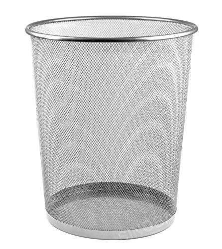 Sinoba Papierkorb Mülleimer Abfalleimer Papiereimer Draht Höhe 34 cm 18 L (Silber)