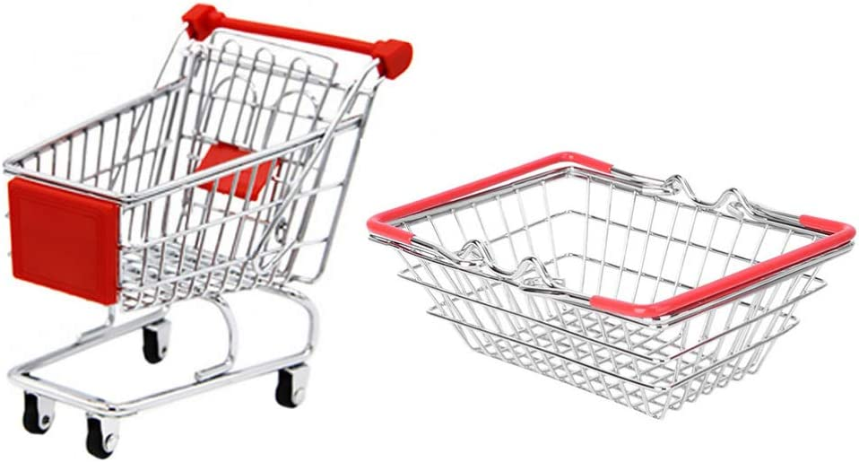 YARNOW Shopping Pretend Toys, 1 Set of Mini Shopping Cart and Gr