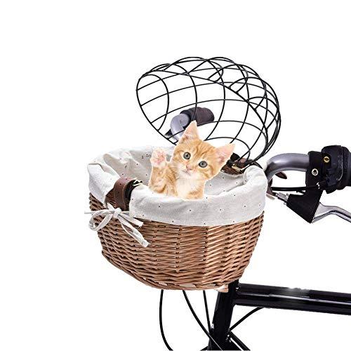 GLX Pet Fahrradkorb Gewebte Kleine Katze Hund Fahrrad Basket- Vorne Lenker Fahrradkorb Easy Install Abnehmbarer - Für Erwachsene Jungen-Mädchen-Fahrrad,Braun