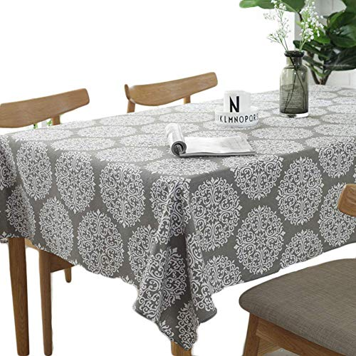 Meiosuns Tablecloth Grey Retro Table Cloth Rectangular Tablecloths Cotton Linen Table Cover Suitable for Home Kitchen Decoration,Various Sizes (Retro Printing, 39' x 55 '')