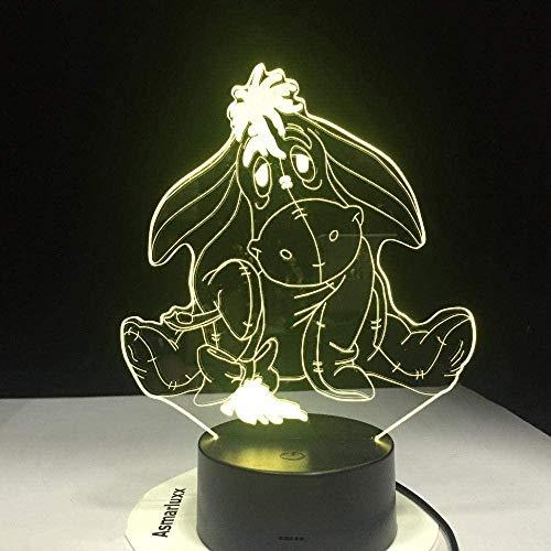Dibujos animados Winnie the Pooh 3D Night Light LED Symphony Light 7 Color Gradient Touch Control remoto Lámpara de escritorio Bebé durmiendo Decoración Amigos Juguete creativo Regalo