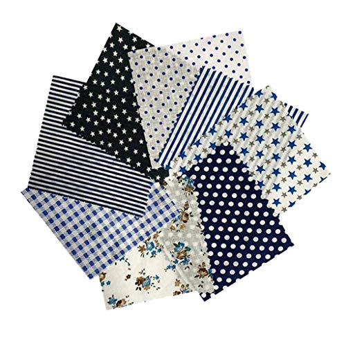 lahomia 8X Varias Telas de Retazos de Algodón Parches de Tela de Costura Bolsas de Bricolaje Ropa de Cama Decoración - Azul